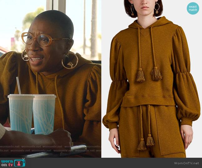 Sacha Puff-Sleeve Crop Hoodie by Ulla Johnson worn by Henrietta Wilson (Aisha Hinds) on 9-1-1