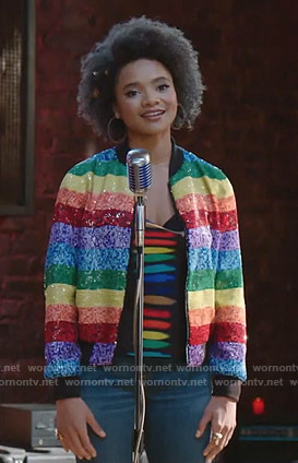 Vanessa's rainbow sequin jacket and tie dye top on Dynasty