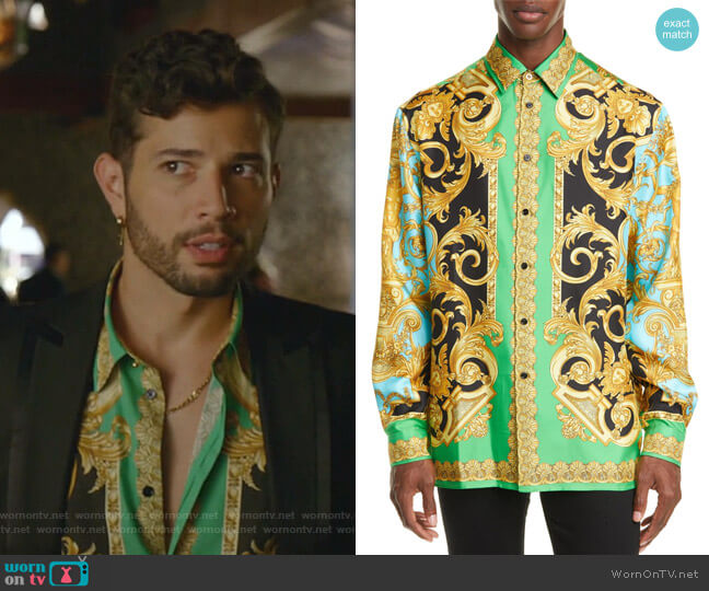 Baroque Print Button-Up Silk Shirt by Versace worn by Sam Flores (Rafael de la Fuente) on Dynasty