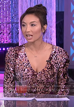 Jeannie's pink velvet leopard bodysuit on The Real