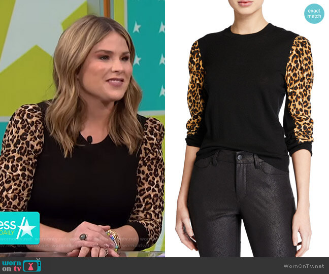 Adler Sweater by Veronica Beard worn by Jenna Bush Hager on Access Hollywood