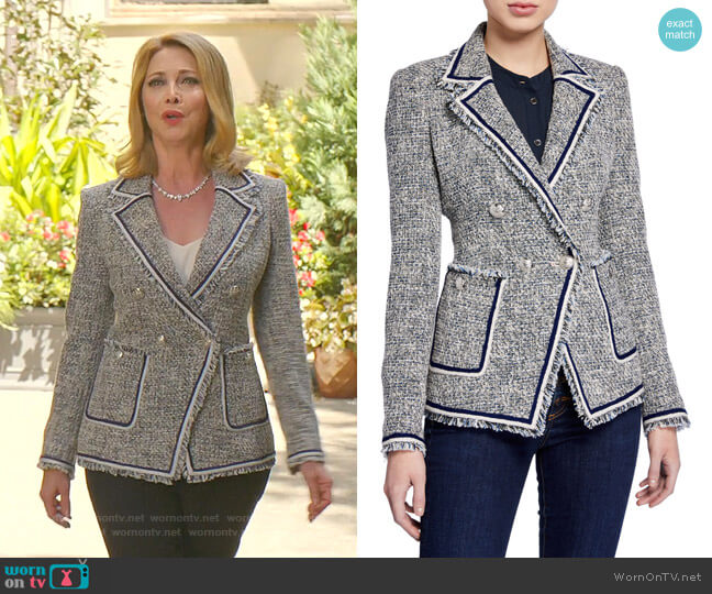 Theron Tweed Jacket by Veronica Beard worn by Sharon Lawrence on Dynasty