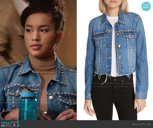Veronica Beard Cara Rhinestone Jean Jacket worn by Gina (Sofia Wylie) on High School Musical The Musical The Series