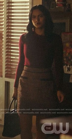 Veronica's burgundy ruffle neck sweater and tweed skirt on Riverdale