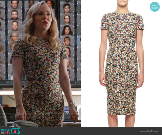 Victoria Beckham Short-Sleeve Floral-Print Midi Dress worn by Marissa Morgan (Geneva Carr) on Bull