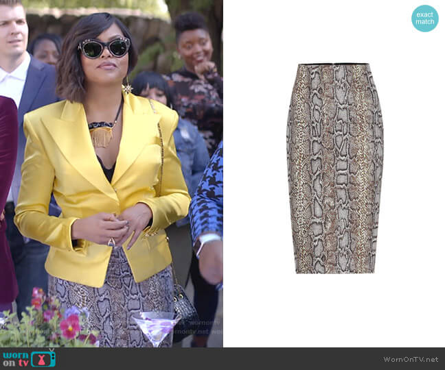 Snake-Jacquard Pencil Skirt by Victoria Beckham worn by Cookie Lyon (Taraji P. Henson) on Empire