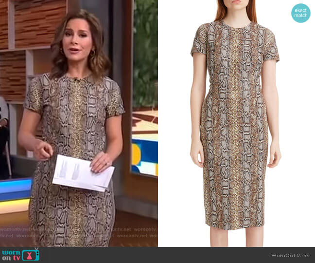 Snake Jacquard Sheath Dress by Victoria Beckham worn by Rebecca Jarvis  on Good Morning America
