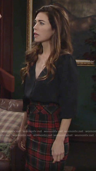 Victoria's black blouse and plaid pencil skirt on The Young and the Restless