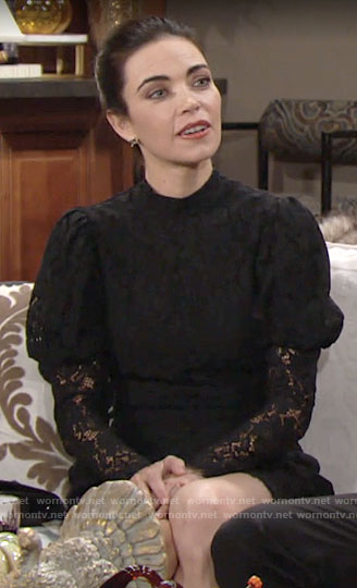 Victoria's black lace Thanksgiving dress on The Young and the Restless