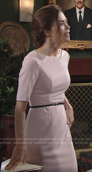 Victoria's light pink sheath dress on The Young and the Restless