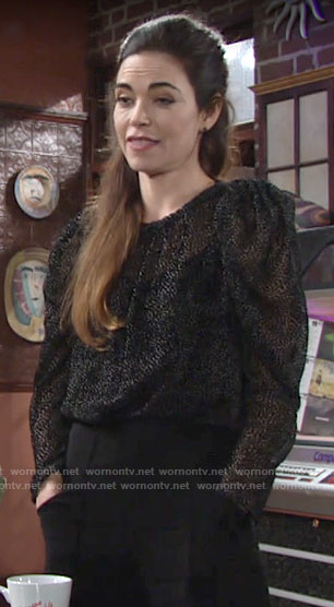 Victoria's sheer black dotted top on The Young and the Restless