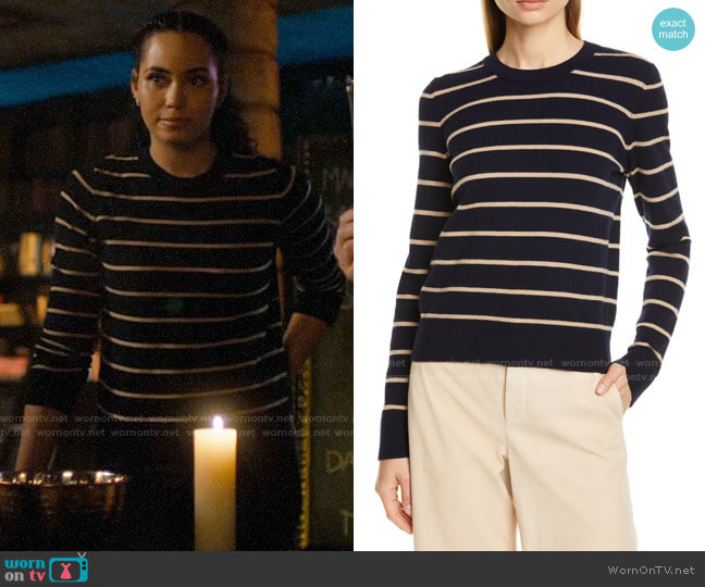 Vince Stripe Cashmere Crewneck Sweater worn by Macy Vaughn (Madeleine Mantock) on Charmed