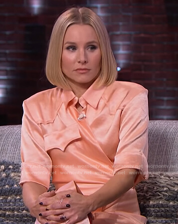 Kristen Bell's satin wrap dress on The Kelly Clarkson Show