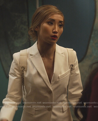 Madison's white blazer on Dollface