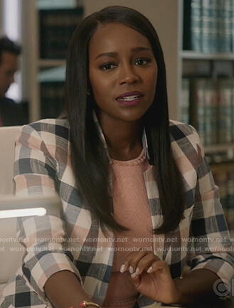 Michaela's check linen blazer on How to Get Away with Murder