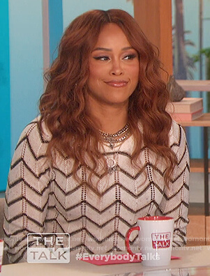 Eve's white zig-zag sweater on The Talk