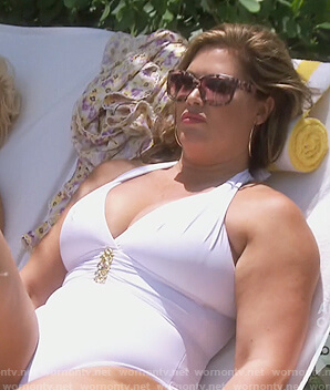 Emily's white embellished one piece swimsuit on The Real Housewives of Orange County