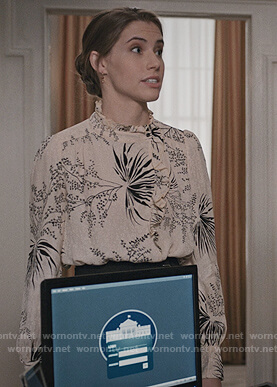 Stevie's floral print ruffle blouse on Madam Secretary