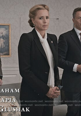 Elizabeth's white tie neck fringe blouse on Madam Secretary