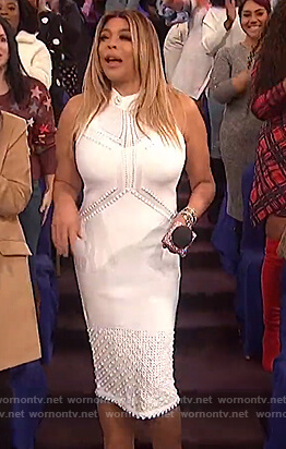 Wendy's white sleeveless pointelle knit dress on The Wendy Williams Show