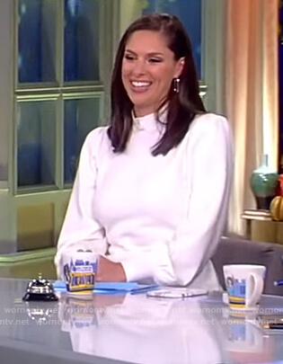 Abby's white puff sleeve top on The View