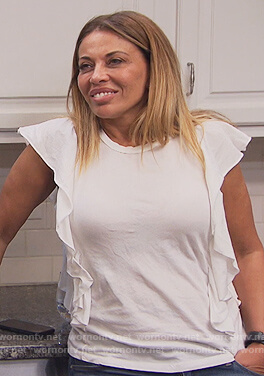 Dolores's white ruffle tee on The Real Housewives of New Jersey