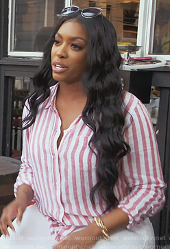 Porsha's striped linen blouse on The Real Housewives of Atlanta
