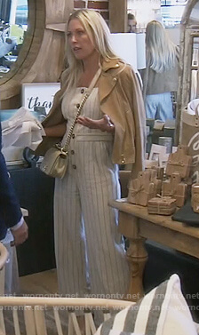 Braunwyn's striped button front jumpsuit on The Real Housewives of Orange County