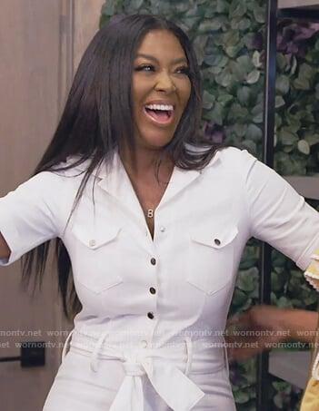 Kenya's white tie jumpsuit on The Real Housewives of Atlanta