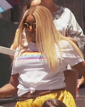Nene's rainbow Versace tee on The Real Housewives of Atlanta