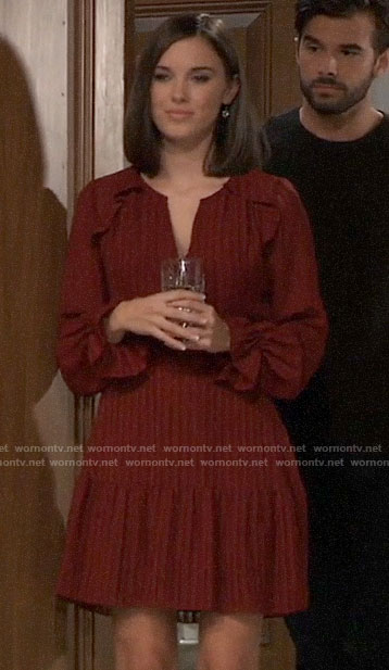 Willow's red long sleeved dress on General Hospital