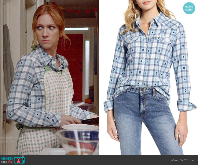 Wrangler Embroidered Western Check Shirt worn by Julia Bechley (Brittany Snow) on Almost Family