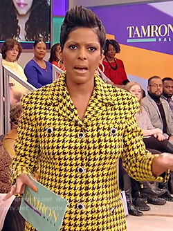 Tamron's yellow houndstooth blazer and skirt on Tamron Hall Show