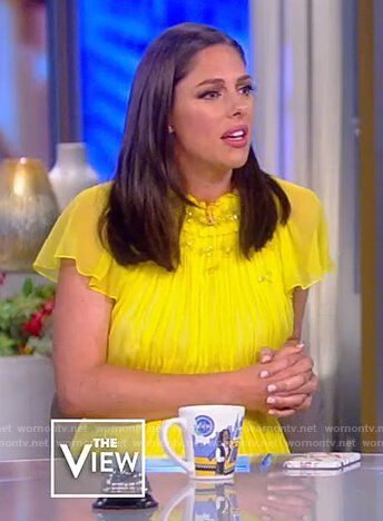 Abby's yellow pleated dress on The View