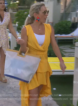 Braunwyn's yellow ruffle hi lo dress on The Real Housewives of Orange County