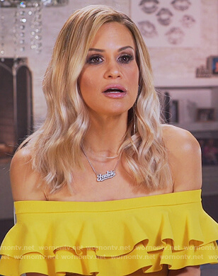 Jackie's yellow strapless ruffle dress on The Real Housewives of New Jersey