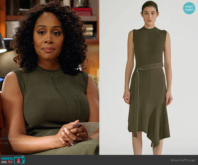 Yigal Azrouel Patchwork Dress worn by Lola Carmichael (Simone Missick) on All Rise