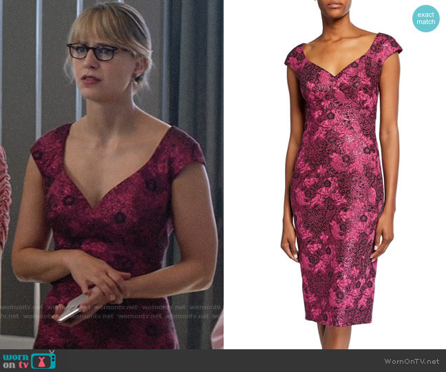Zac Posen Metallic Floral-Jacquard Cocktail Dress worn by Kara Danvers (Melissa Benoist) on Supergirl