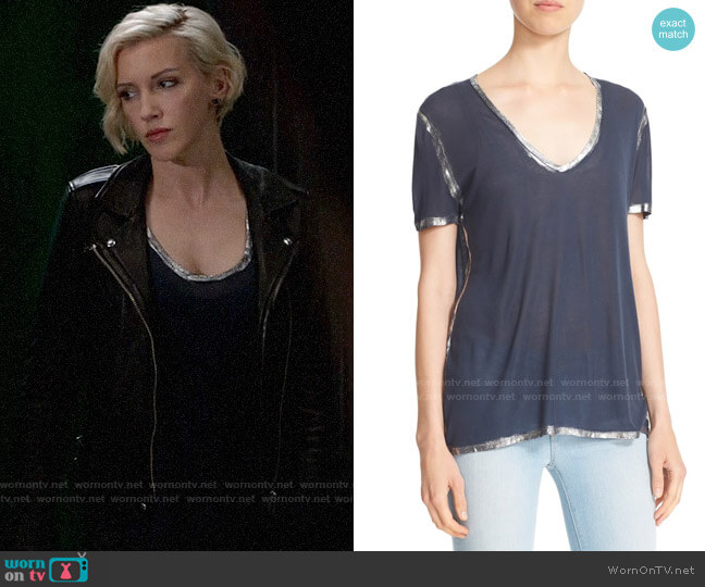 Zadig & Voltaire Tino Foil T-Shirt worn by Laurel Lance (Katie Cassidy) on Arrow