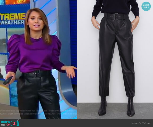 Belted Faux Leather Pants by Zara worn by Ginger Zee  on Good Morning America