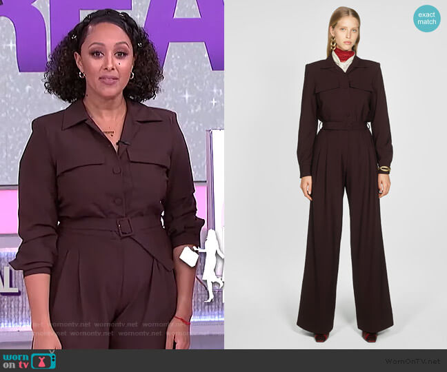 Jumpsuit with Pockets by Zara worn by Tamera Mowry  on The Real