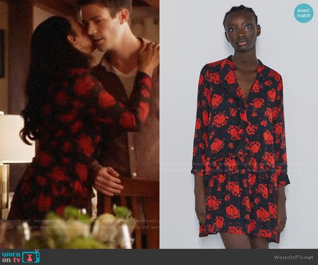 Zara Floral Print Dress worn by Iris West (Candice Patton) on The Flash