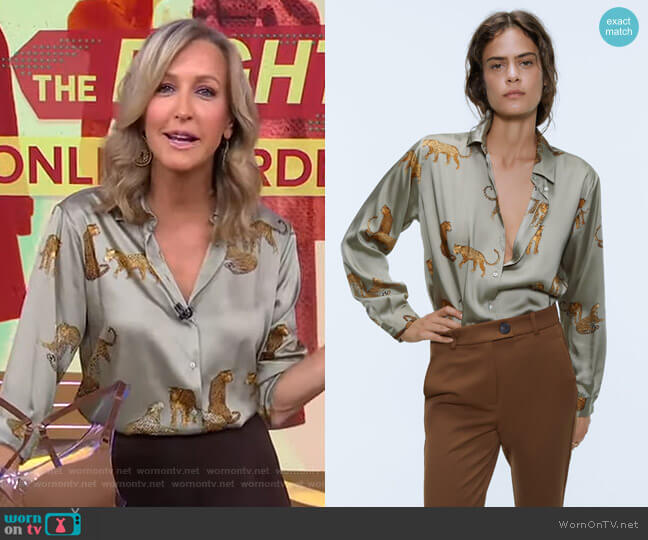 Flowy Printed Shirt by Zara worn by Lara Spencer  on Good Morning America