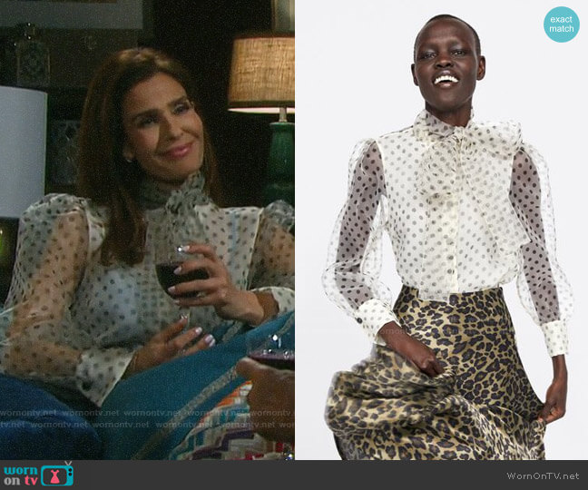 Zara Organza Blouse with Tie worn by Hope Williams (Kristian Alfonso) on Days of our Lives