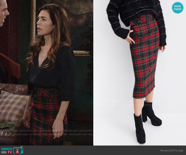 Zara Plaid Midi Skirt worn by Victoria Newman (Amelia Heinle) on The Young & the Restless