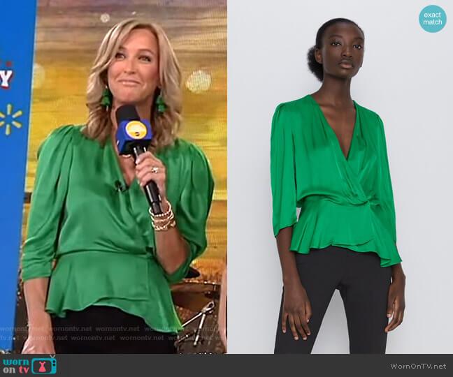 Sateen Wrap Blouse by Zara worn by Lara Spencer  on Good Morning America