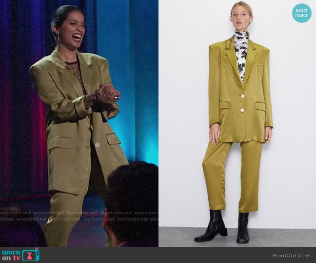 Zara Buttoned Satin Effect Blazer and Pants worn by Lilly Singh  on A Little Late with Lilly Singh