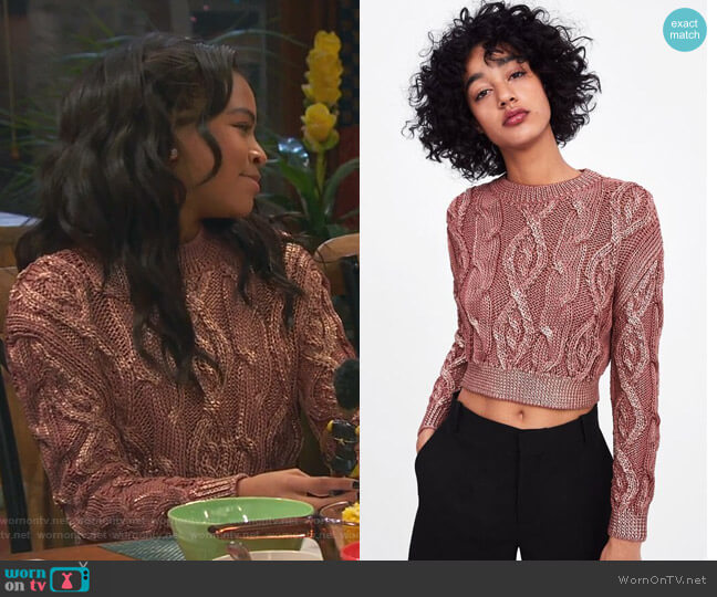 Cable Knit Sweater by Zara worn by Nia Baxter (Navia Robinson) on Ravens Home