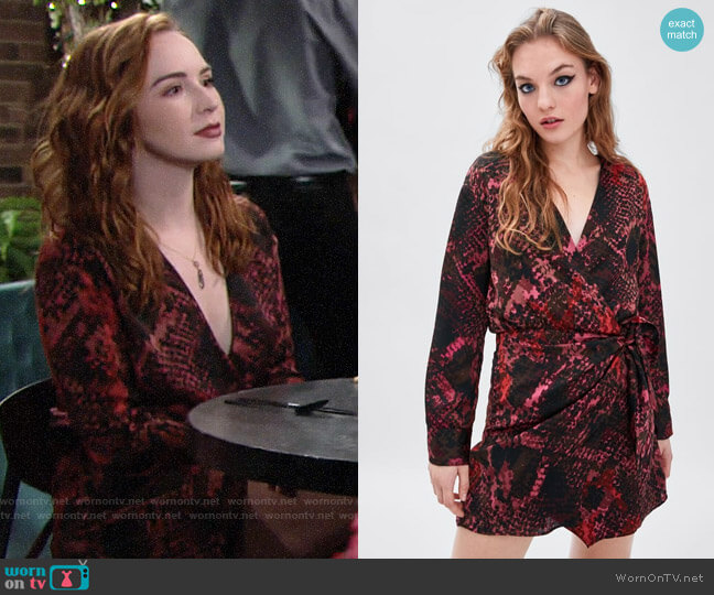 Zara Snakeskin Print Dress worn by Mariah Copeland (Camryn Grimes) on The Young & the Restless