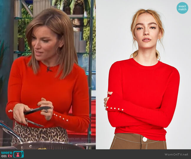 Sweater With Pearly Cuffs by Zara worn by Kit Hoover  on Access Hollywood
